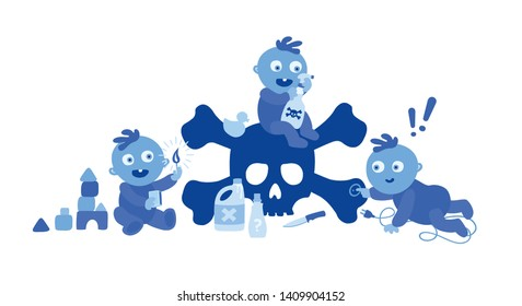 Cute blue toddlers on white background.  Dangers and safety hazards to watch for around the house. Babies with toxic detergents, open fire burns. Electrocuting victim. Accidents at home. Illustration.