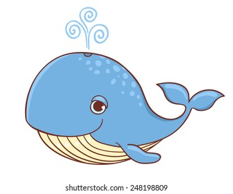 Cute blue whale isolated on white. Vector cartoon illustration.
