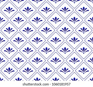 Cute blue and white pattern, Seamless porcelain indigo decor vector, Beautiful ceramic background, floral backdrop for design floor, wallpaper, texture, fabric, paper