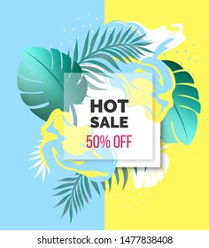 Cute blue and yellow tropical abstract design sale banner tropical leaves and 3d frame