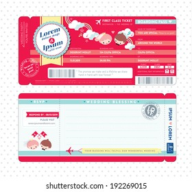 Cute Boarding Pass Ticket Wedding Invitation Template