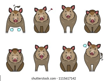 cute boars elements set