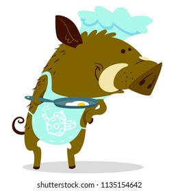Cute boars or warthog character as cook. Vector illustration with shef cool pig ewith pan and omelet. Forest inhabitant in cartoon flat style. Chinese horoscope personage