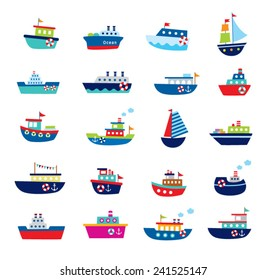 cute boat ship vector illustration