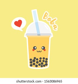 Cute Boba bubble milk tea with tapioca. Pearl milk tea, black delicious pearls is Taiwanese famous. Popular drink. Vector illustration sketch. Character Cartoon. Cute Sticker. Kawaii cartoon Emoji.