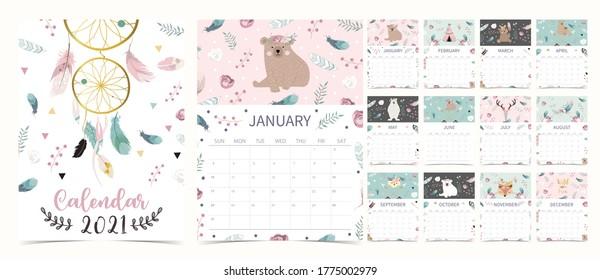 Cute boho Kalender 2021 mit Bär, Träumer, Feder für Kinder, Kind, Baby