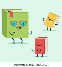 Cute Book cartoon character in glasses tells fairy tales to the children. Vector flat icon isolated on background.