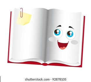 cute book cartoon with eyes over white background. vector