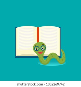 Cute bookworm with glasses near an open book, , isolated on blue background. Education concept. Vector cartoon illustration.