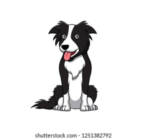 Cute Border Collie Cartoon Dog. Vector illustration of purebred border collie dog.