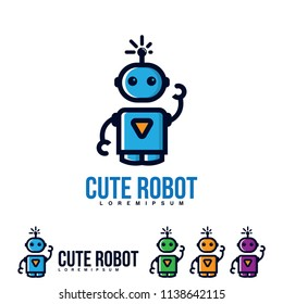 Cute bot icon. Bot icon. Chatbot icon concept. Cute smiling robot. Vector modern line character illustration isolated on white background. Outline robot sign design. Virtual online support