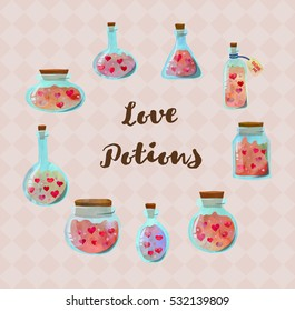 Cute bottles with love potion and hearts set. Love magic collection.