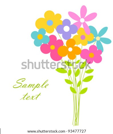 Cute Bouquet Flowers Vector Illustration Stock Vector Royalty Free