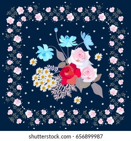 Cute bouquet of gardening flowers in floral frame. Napkin, bandanna, greeting card with roses, cosmos and daisies. Summer design.