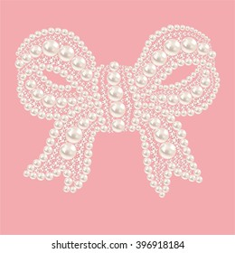 Cute bow with pearls and diamonds. Isolated on a pink background. Vector illustration.