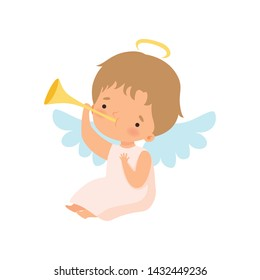 Cute Boy Angel with Nimbus and Wings Playing Trumpet, Lovely Baby Cartoon Character in Cupid or Cherub Costume Vector Illustration