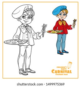 Cute boy in artist costume with palette and brushes color and outlined for coloring page