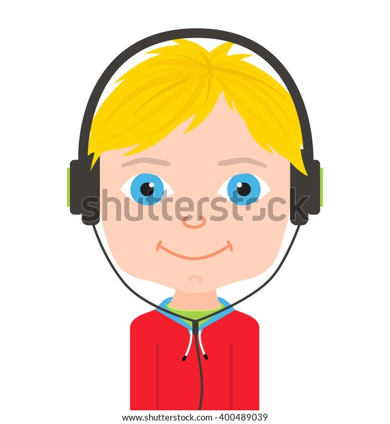 Cute Boy Big Eyes Kid Headphones Stock Vector Royalty Free 400489039