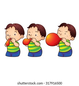 cute boy blow up balloon step by step