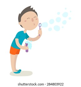 Cute boy blowing bubbles. Flat design. Vector illustration. Isolated on white background.