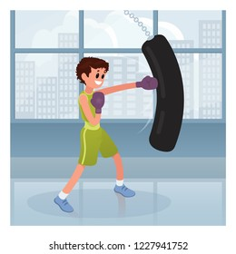 Cute boy boxing in cartoon style on blue gym background. Sport kid character vector illustration
