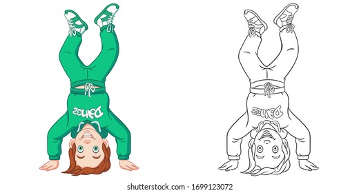 Cute boy break dancer. Coloring page and colorful clipart character. Cartoon design for t shirt print, icon, logo, label, patch or sticker. Vector illustration.