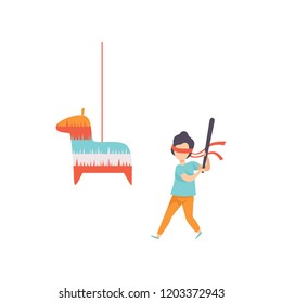 Cute boy breaking Pinata with baseball bat, kid celebrating his birthday vector Illustration on a white background