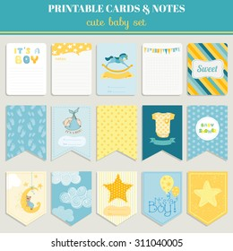 Cute Boy Card Set. Birthday, baby shower, party, design. Vector