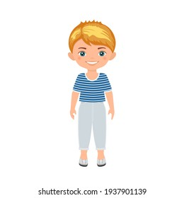 Cute boy character isolated on white background. Cartoon flat style. Vector illustration