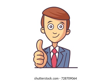 Cute Boy Character showing Thumbs Up. Vector Illustration. Isolated on white background.