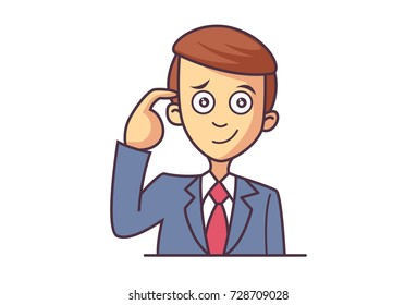 Cute Boy Character . Vector Illustration. Isolated on white background.