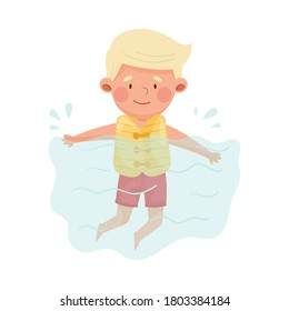Cute Boy Character Wearing Swimming Jacket Floating in Water Vector Illustration