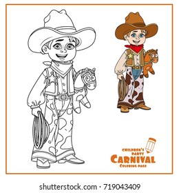 Cute boy in cowboy costume color and outlined for coloring page