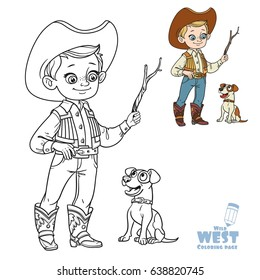Cute boy in cowboy costume play with dog, coloring page on a white background