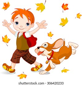 Cute boy with dog walks to school at autumn day