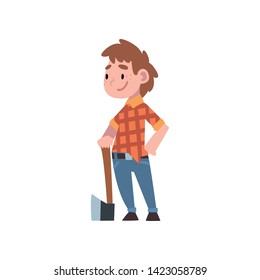 Cute Boy Dressed as Lumberjack, Kids Future Profession, Boy in Checkered Shirt and Jeans Standing with Ax Vector Illustration