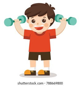 A cute boy exercising with dumbbells. Cheerful boy exercising. vector Illustration