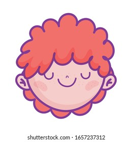 cute boy face cartoon character icon on white background vector illustration