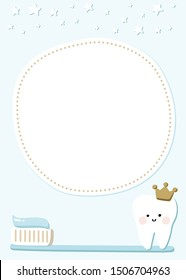 Cute boy first tooth party invitation template, baby or kid dental care poster, dentist brochure design, with a circle frame for quote or advice. Kawaii smiling tooth with a crown on a toothbrush.