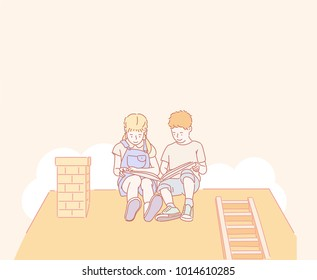 Cute boy girl character reading a book on the roof. hand drawn style vector doodle design illustrations.