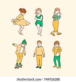 cute boy and girl character yellow and green color hand drawn illustrations. vector doodle design