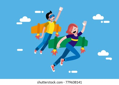 Cute Boy and Girl Fliying in the sky. Thhey are wearing wings and rockets in their back. Children vector illustration in a flat, minimal style.