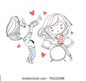 Cute boy and girl playing musical instruments.. Valentine's Day. Love card.