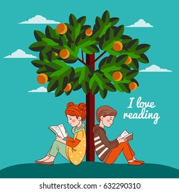 Cute boy and girl reading books under the orange tree