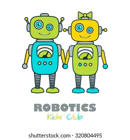 Cute Boy & Girl Robot cartoon character educational flat icon template. School, after-school kids' activities, technology education club business sign concept. Sample text. Layered, editable