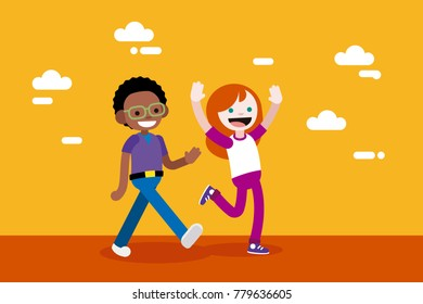 Cute Boy and Girl Walking and Greeting. Children vector illustration in flat, minimal, style.