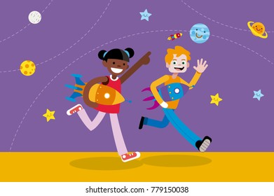 Cute Boy and Girl Walking with Rockets in their hands. Children vector ilustration in a flat, minimal style.