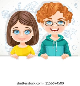 Cute boy in glasses and small brunette girl with short haircut holds large white horizontal banner on a white background with school doodles