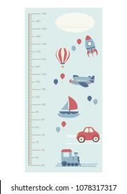 Cute boy height chart metric system. Air balloons, rocket, airplane, boat, car train. Blue icons. Travel, adventure. Cartoon children illustration.