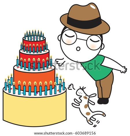 Cute Boy And His Dog Blowing Candles On Birthday Cake Concept Card Character Illustration